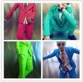 2015 костюмы ( куртка + брюки ) костюм певица танцор шоу ну вечеринку мужской dj костюм тонкий мужской красный синий зеленый ds костюмы бар