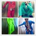2015 hombres suits ( chaqueta + pantalones ) traje bailarín cantante mostrar partido para hombre dj traje chaqueta delgada para hombre rojo azul verde trajes ds bar