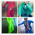 2015 men suits (jacket+pants) costume singer dancer show party Male dj costume slim jacket male red blue green ds costumes bar
