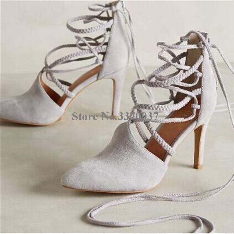 up En Tressé Chaussures Mince Mode Picture As Pompes Bracelet Croix Haute Corde Cuir as Élégante Picture Talon Bout Daim Femmes Talons Dentelle Robe Pointu wOIfqf6