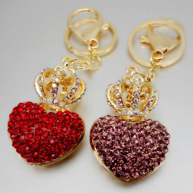 Adojewello biżuteria torebka Charms Rhinestone kryształowa korona brelok do kluczy z sercem brelok do torebki samochodowej Chram brelok hurtowy