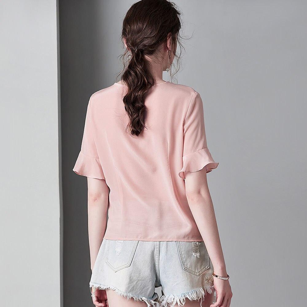 100% seide Crepe Shirt Reine Seide Crepe Blusen Frauen Shirts Büro Dame Shirts Neue Frühling und Sommer Stil - 2
