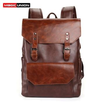 MAGIC UNION Vintage Men Leather Hasp Backpack Retro Crazy Horse Leather Backpacks for Men's Bag Mochila Male Bolsa Sac