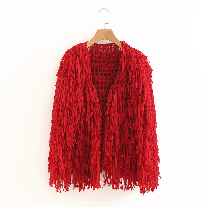 Lamb Solid Color Sequins tassels knitted Sweater jacket cardigan Handmade Mixed Color Fringed Velvet Fluffy Loose Coat Outwear