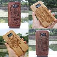 Pour Samsung GALAXY S6 Cool mode véritable bois de bambou Case main protéger Hard Shell naturel sculpture en bois couverture arrière