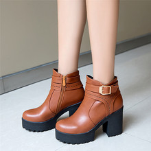 Spring Autumn Platform Women Ankle Boots Square Med High Heel Woman Short Boots botas High Quality Plus Size 34 – 40 41 42 43
