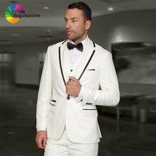 Белые мужские свадебные костюмы костюм жениха на заказ приталенный