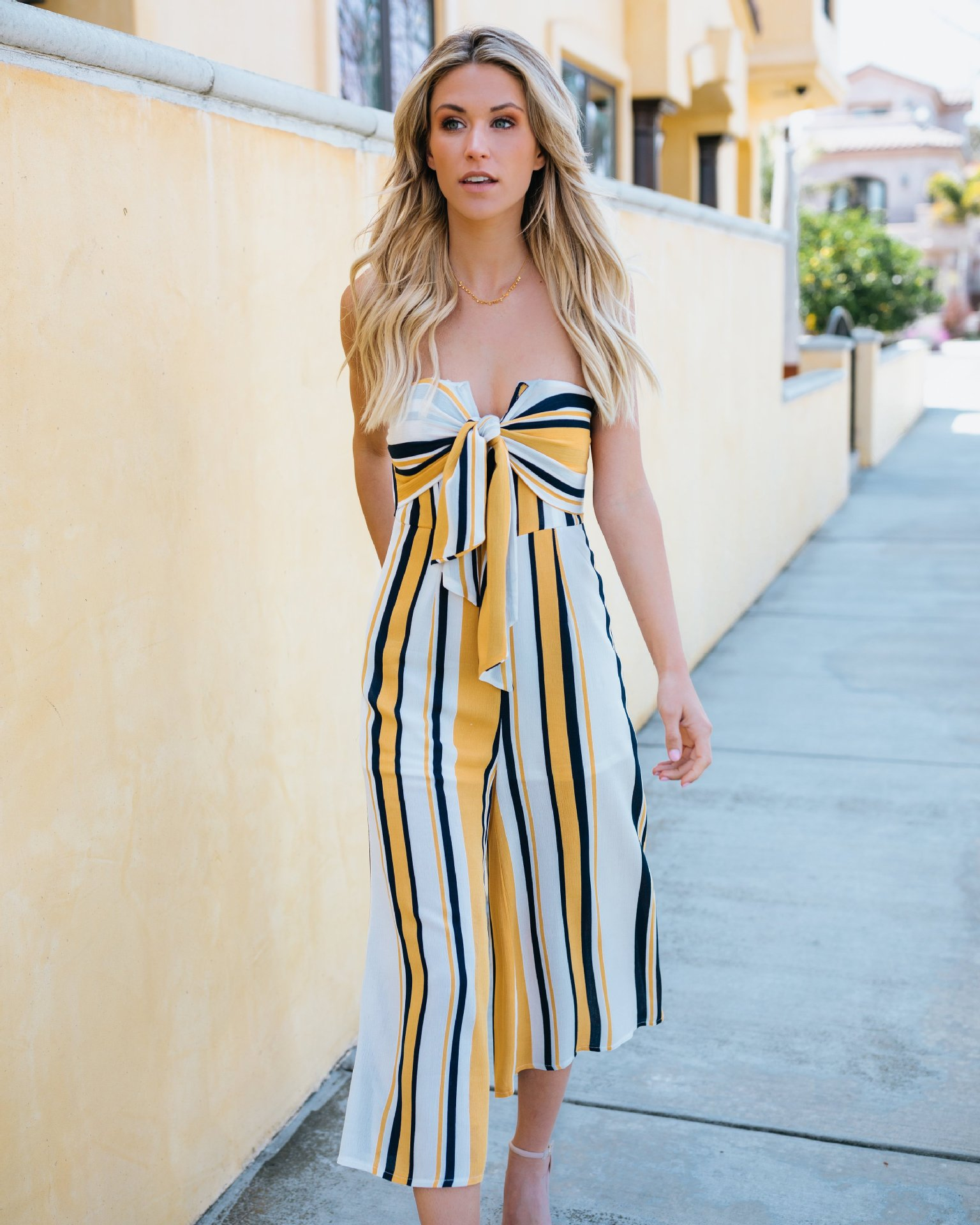 c9df24c6b916 Young Zeal Off Shoulder Bow Wide Leg Pant Casual Summer Jumpsuit Women  Striped Backless Sexy Strapless Rompers