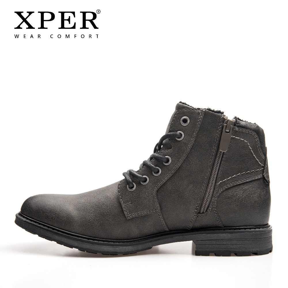 XPER/Новые брендовые ботинки мужская теплая зимняя обувь больших размеров 40-48 Модные мужские Ботильоны на молнии рабочая обувь в байкерском стиле # XHY12503A