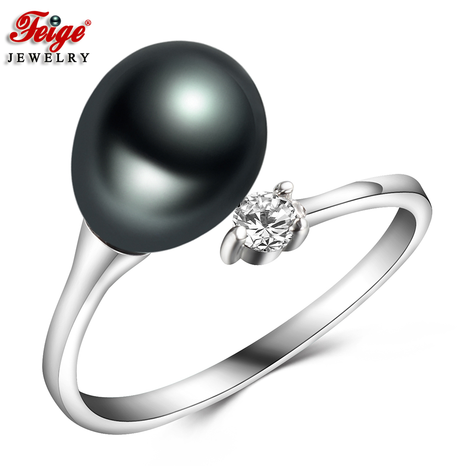Simple Vintage Black Pearl Finger Ring For Women Party Jewelry 8-9MM Freshwater Pearl Ring Fine Jewelry Gifts Dropshipping FEIGE