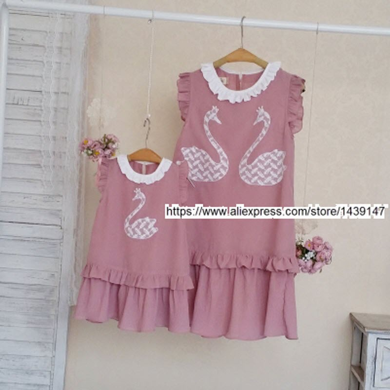 Children clothing Mother and Daughter Chiffon Dress Beautiful swans , 2-12 years old Child baby Girl , Women plus Large size 4XL children clothing mother and daughter dress black and white rabbit 2y 10y child baby baby girl infant lady women large size 4xl
