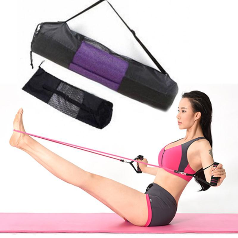 New Convenience Black Portable Yoga Mat Bag Nylon Pilates Carrier Mesh Center Adjustable Sport Tool Style