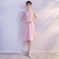 Shanghai Story Long Sleeve Knee Length Lace Cheongsam Qipao chinese Style Dress Folk Dress for Women