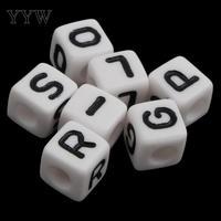 Granos del alfabeto de Acrílico para hacer La Joyería diy Pulsera collar Cubo con patrón de la letra de 8x8mm Agujero: Aprox. 3mm Approx1150PCs/Bolsa