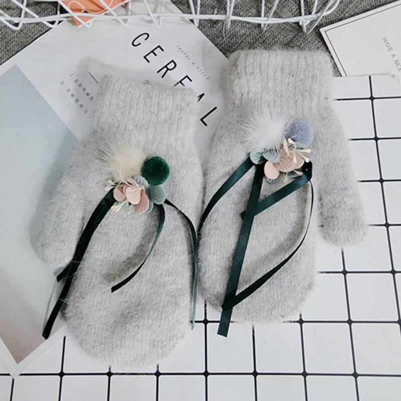 MONIQUE Frauen Handgelenk Warme Winter-woll-handschuhe Weibliche Luvas Kaninchenfell Handschuhe Kaschmir Winter Mädchen Elegante Handschuh Weibliche