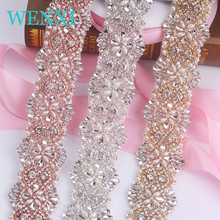WENXI (10 YARDS) Wholesale Crystal Rhinestone Trim With Pearls Beaded Rhinestone Bridal Applique For Wedding Gown Or Sash