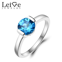 Leige Jewelry Topaz Promise Ring Swiss Blue Topaz Ring November Birthstone Round Cut Blue Gemstone 925 Sterling Silver Gifts