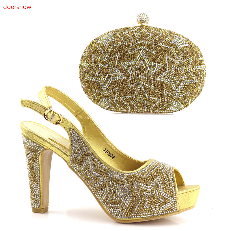 doershow gold African Shoes and Matching Bags Italian Rhinestone Shoe and Bag Set High Quality Nigerian Shoes and Bag Set UL1-3 doershow italian shoe with matching bag silver african shoe and bag set new design matching shoes and bags for party bch1 6