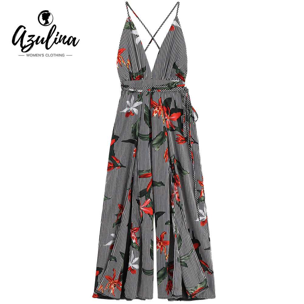 65f6292fec3b Detail Feedback Questions about AZULINA Criss Cross Floral Striped Women  Jumpsuit 2018 New Summer Straps Wide Leg Long Jumpsuits Rompers Casual  Girls ...