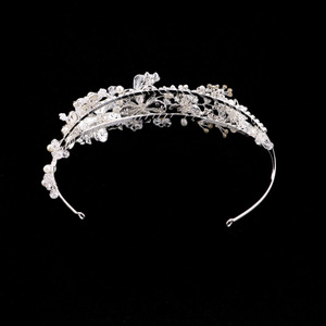 Image 4 - GETNOIVAS Vintage Gold Pearl Rhinestone Leaf Tiaras Headband Hairband Bridal Hair Jewelry Head Piece Wedding Crown Accessory SL