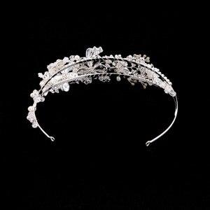 Image 4 - Getnoivas pérola de ouro do vintage strass folha tiaras bandana hairband nupcial cabelo jóias cabeça pedaço casamento coroa acessório sl