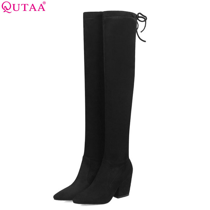 QUTAA 2019 Women Fashion Boots Over The Knee High Boots Platform Slip on All Match Winter Shoes Ladies Boots Big Size 34-43