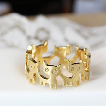 Fashion gold Cat Rings For Women Animal Ear Party Wedding Bands Lovely Zinc Alloy Rings anillo gato(China)