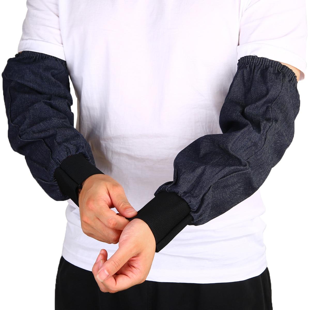 1 Pair Welder Lengthen Arm Protective Sleeves Denim Blue Welding Arm Sleeves Working Sleeves Cut Resistant Heat Protection
