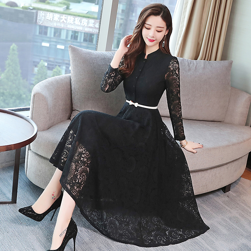 Image 2 - 2019 Autumn Winter Plus Size Vintage Lace Midi Dresses Women Elegant Bodycon Black Maxi Dress Party Long Sleeve Runway Vestidos-in Dresses from Women's Clothing