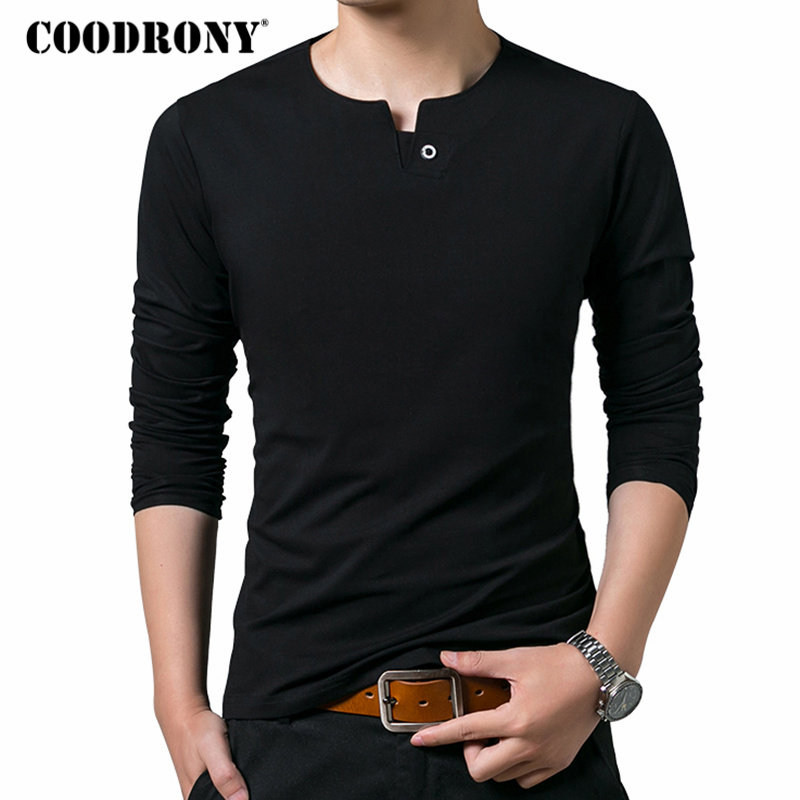 COODRONY Cotton Tee Shirt Homme T Shirt Men Clothes 2018 Autumn New Arrival Long Sleeve T-Shirt Men Casual Henry Collar Top 8611