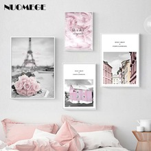 Nordic Pink Rose Landscape Canvas Painting Paris Architecture Feather Decorative Picture for Living Room Restaurant Wall Decor