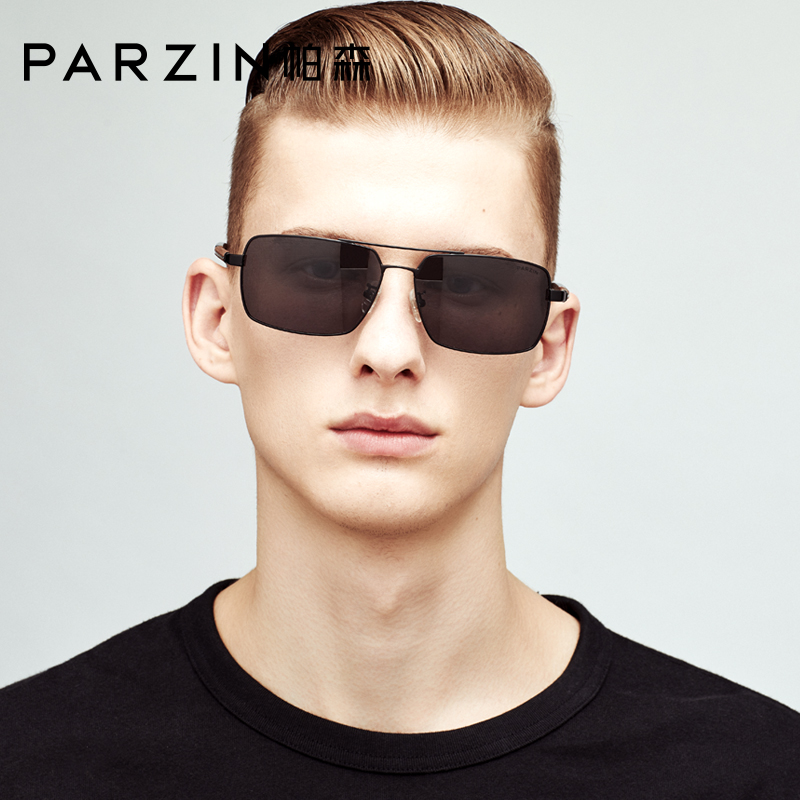 PARZIN 2019 Men Sunglasses Polarized For Driving Square Alloy Frame Real HD UV400 Lenses Sun Glasses