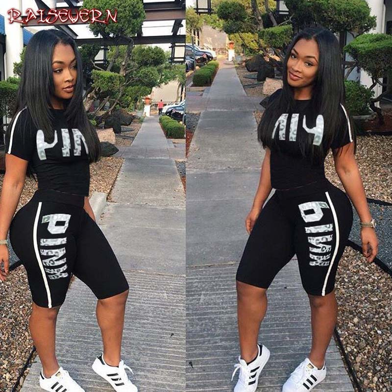 RAISEVERN Pink Letter Print 2 Piece Set Women Summer Two Piece Tracksuit Short Sleeve Top And Knee Length Shorts Casual Outfit