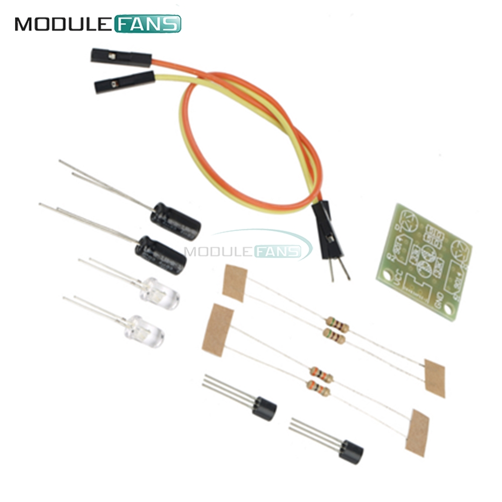5mm Light Led Blue Simple Flash Circuit Diy Kit Module Transistor Circuits With Capacitors 30k Resistance 22uf Electrolytic Dupont Cable Board In Integrated From