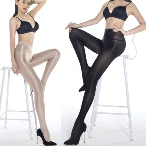 Sexy Oil Shiny Pantyhose Women Crotchless Sheer Stockings Womens Tights Fashion Lady Stretchy Hosiery
