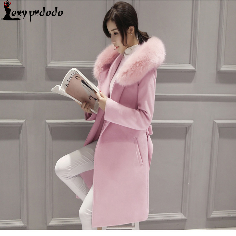 New Winter Wool Trench Coat Womens Coats 2016 Large Raccoon Fur Collar Hooded Casual Outerwear Ladies Long Coat casaco feminino
