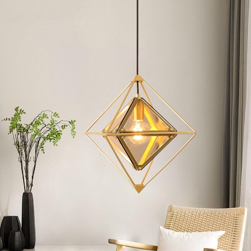 Modern Pendant Lights Metal Gold Pendant Lamp Diamond Hanglamp For Living Room Kitchen Fixtures Lustre Luminiare Lighting