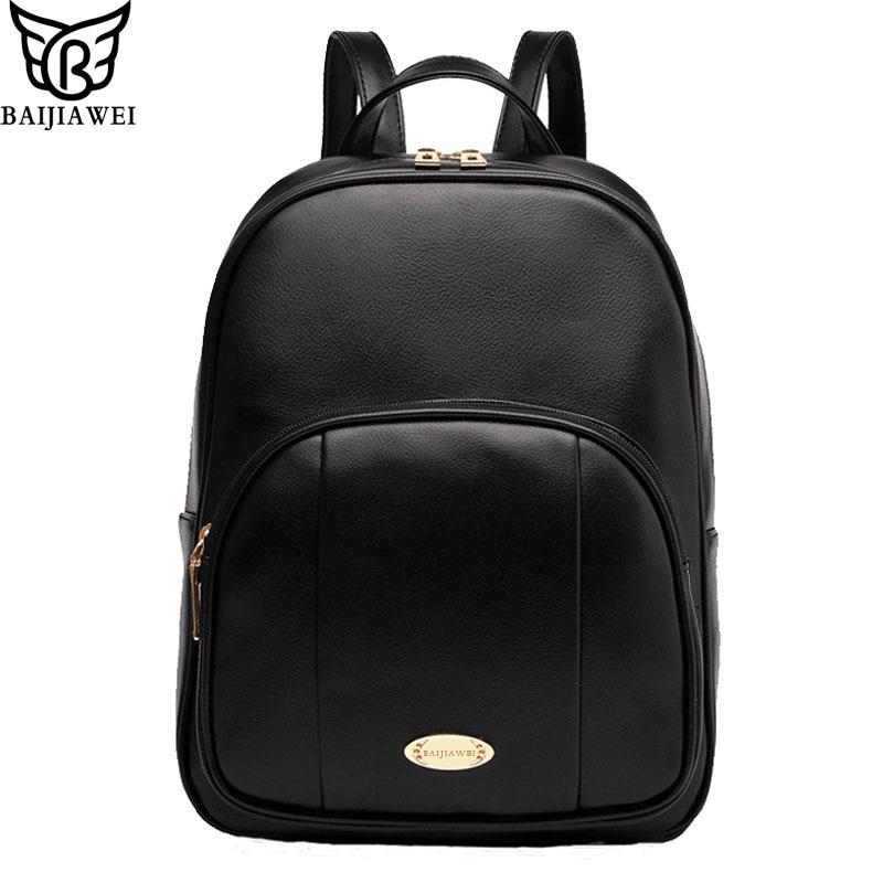 ФОТО BAIJIAWEI Casual PU Leather Women Backpack School Bags For Teenagers Girls Schoolbag Woman Travel Backpacks Ladies Shoulders Bag