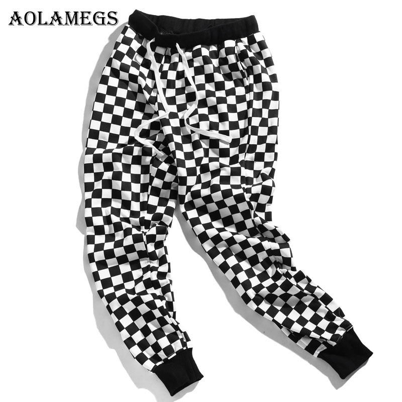 Aolamegs Pants Men Plaid Checkerboard Pants Fleece Thick Trousers Pants Mens Tactical Elastic Waist Fashion Joggers Sweatpants
