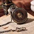 Homens de madeira relógio de bolso fresco luxo presente do amante cadeia mecânica mão Winding relógio de Bronze esqueleto Steampunk homens relógio