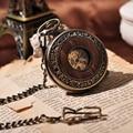 Wooden Men Pocket Watch Cool Luxury Lover Gift Chain Mechanical Hand Winding Bronze Watch Skeleton Steampunk Men Watch