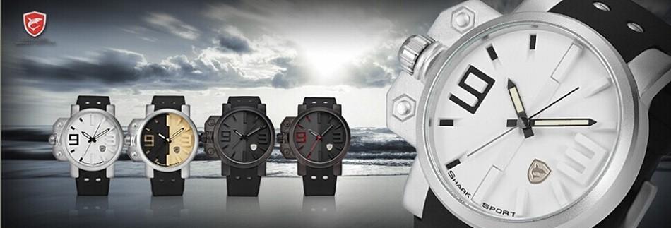 ฉลามกีฬานาฬิกายี่ห้อดิจิตอลเวลาคู่วันLEDสีดำสีแดงนาฬิกาข้อมือผู้ชายเหล็ก 3