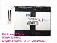 5 нитей, емкость аккумулятора для планшетного ПК 31135146 3,7 в 8000 мАч, универсальный литий-ионный аккумулятор для планшетного ПК 9 дюймов 10 дюймов 11 дюймов