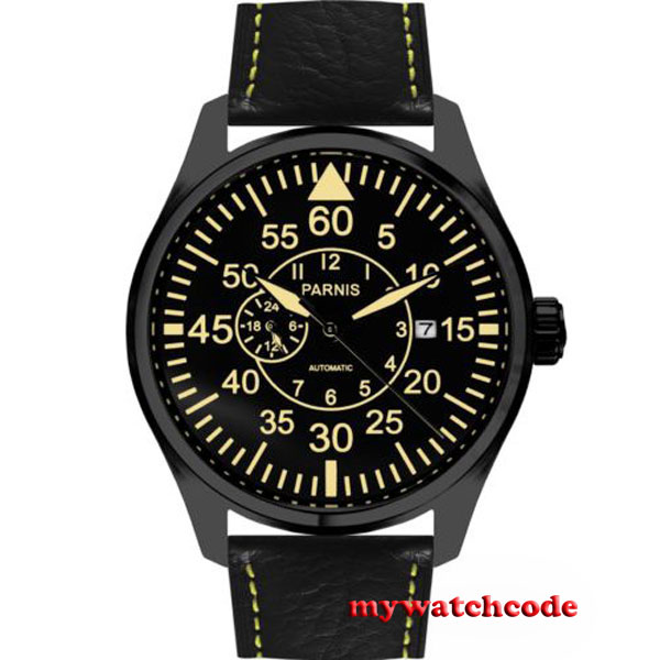 44mm Parnis black dial Sapphire Glass 21 jewels miyota Automatic mens Watch P573 все цены