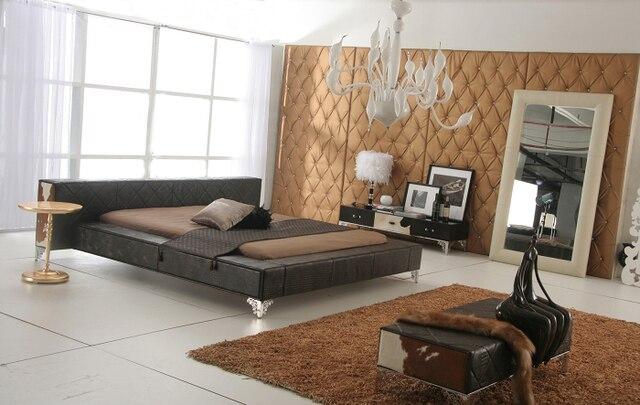 Color marrón oscuro cuero genuino Verdadero/cama doble king size ...