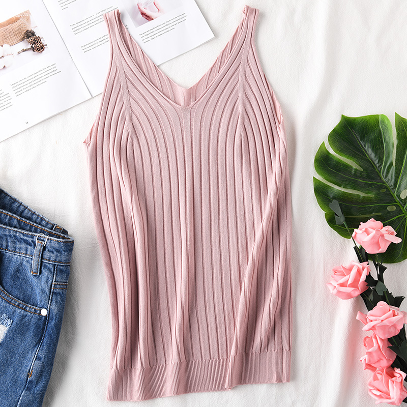 Knitted Ribbed Camisole Slim   Tank     Tops   V-neck Women   Tanks   Knitted Feminina Summer Fashion 2019 New Wear Women's Linne Ice Yarn