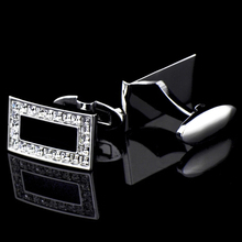 Bridegroom Wedding Business Men Cufflinks French Shirts Cuff Links Black Glaze Zircon Silvery Rectangle Cufflink With Gift Bag