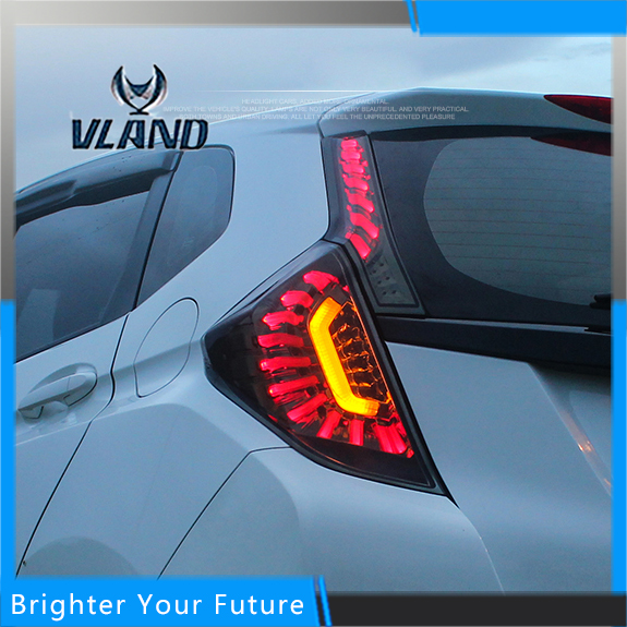 Full LED Smoked Black For Honda Jazz FIT 2014 2015 2016 LED Rear Lamps brake bright Taillights car rear trunk security shield cargo cover for honda fit jazz 2014 2015 2016 2017 high qualit black beige auto accessories