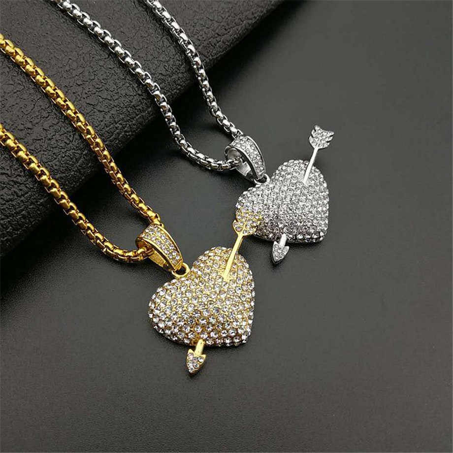 Dropshipping Bling Bling Iced Out Chains Heart With Arrow Necklace Pendant Cubic Zirconia Gold Silver Color CZ Hiphop Jewelry