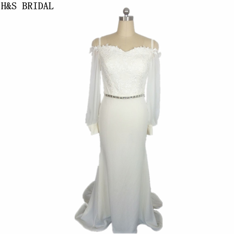 Robe de Soiree Crystal Beaded Elegant Mermaid Ivory Prom Crepe Spandex Pearls Lace Gown Long Sleeve   bridesmaid     dresses